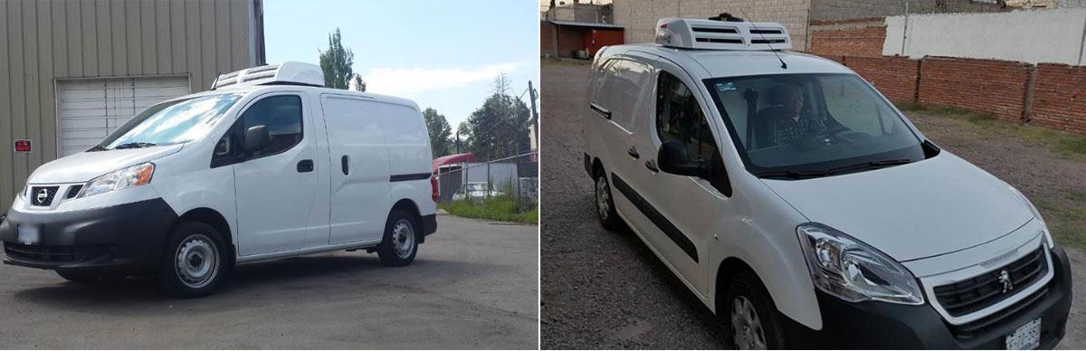 electric van refrigeration unit C150TB installed on Nissan NV200 and Peugeot partner van
