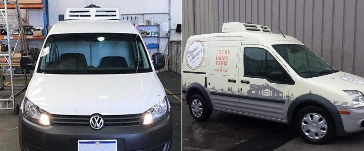 electric van refrigeration unit C150TB installed on Renault Kangoo Van and VW van