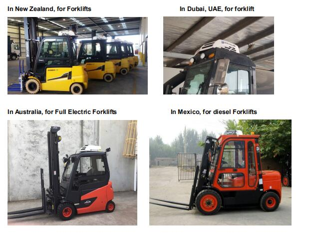 All electric forklift air conditioner T20B installation cases all over the world