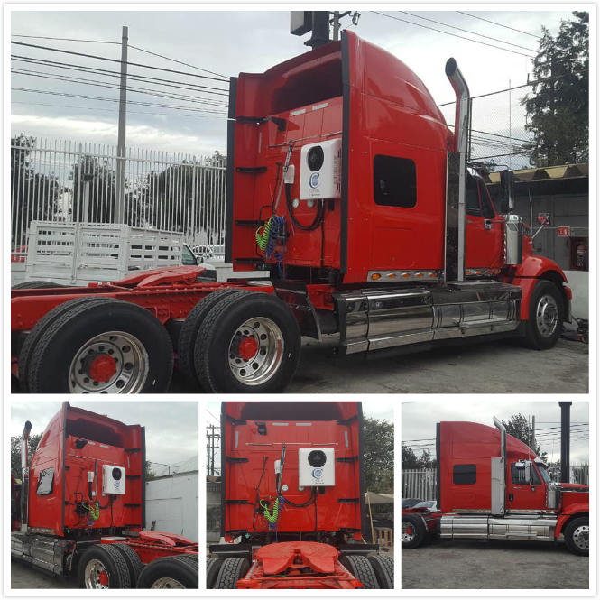 Truck sleeper air conditioner on international truck