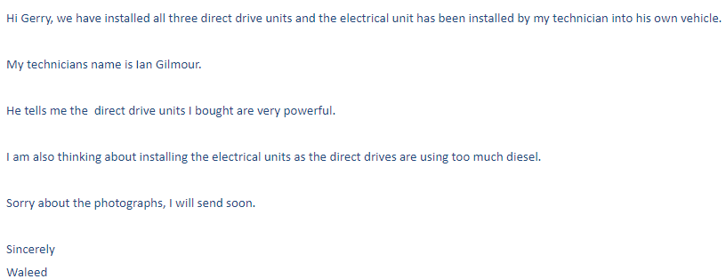 customer feedback to  corunclima truck freezer